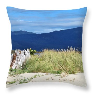 Sand Grass Mountains Sky Throw Pillow by Michele Penner