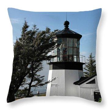 Cape Meares Lighthouse Near Tillamook On The Scenic Oregon Coast Throw Pillow by Christine Till