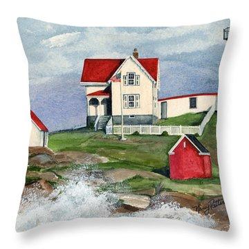 Cape Neddic Lighthouse  Throw Pillow