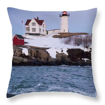Cape Neddick Light At Dusk, York, Maine 21073 Throw Pillow