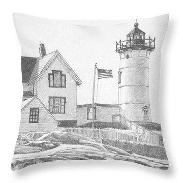 Cape Neddick Light House Drawing Throw Pillow