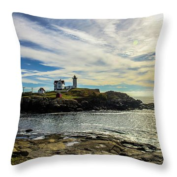 Cape Neddick Lighthouse Throw Pillow by Sherman Perry