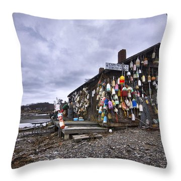 Cape Neddick Lobster Pound Throw Pillow by Eric Gendron