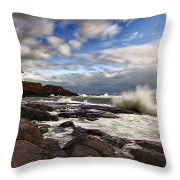 Cape Neddick Maine Throw Pillow by Rick Berk