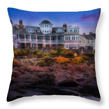 Cape Neddick Maine Scenic Vista Throw Pillow