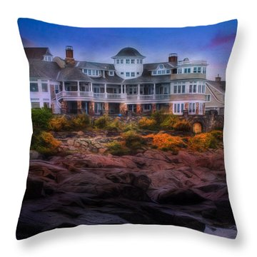 Throw Pillow featuring the photograph Cape Neddick Maine Scenic Vista by Shelley Neff