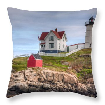 Cape Neddick Nubble Lighthouse I Throw Pillow by Clarence Holmes