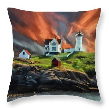 Throw Pillow featuring the digital art Cape Neddick Nubble Lighthouse by Lois Bryan