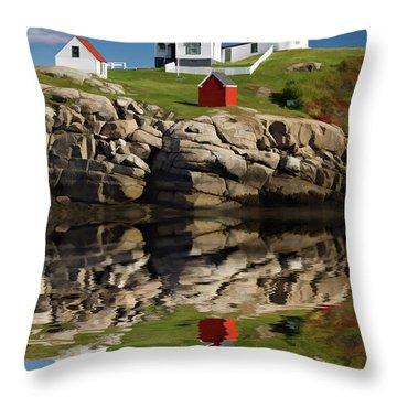 Cape Neddick Reflection - D003756a Throw Pillow by Daniel Dempster