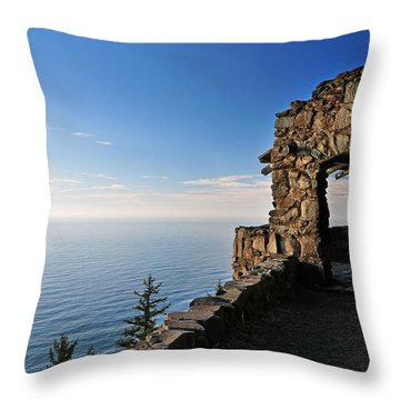 Throw Pillow featuring the photograph Cape Perpetua Stone Shelter by Lara Ellis