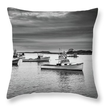 Throw Pillow featuring the photograph Cape Porpoise Harbor In Black And White by Rick Berk
