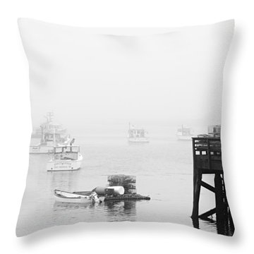 Cape Porpoise Lobster Boats In Fog Throw Pillow