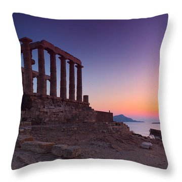 Cape Sounion Throw Pillow by Emmanuel Panagiotakis