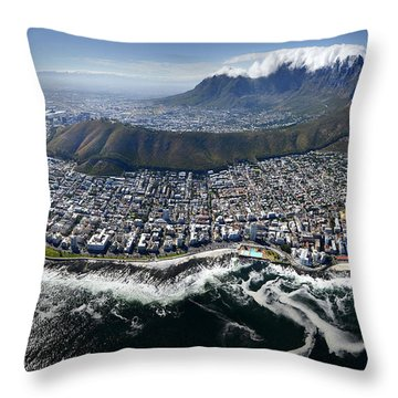 Cape Town From The Air Throw Pillow by Michael Edwards