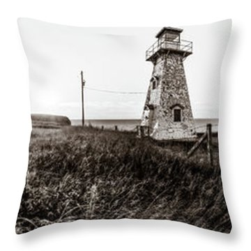 Throw Pillow featuring the photograph Cape Tryon Light - Bw by Chris Bordeleau