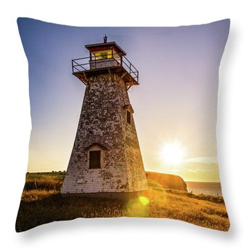 Throw Pillow featuring the photograph Cape Tryon Light Sunset by Chris Bordeleau