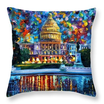 Capital At Night - Washington Throw Pillow