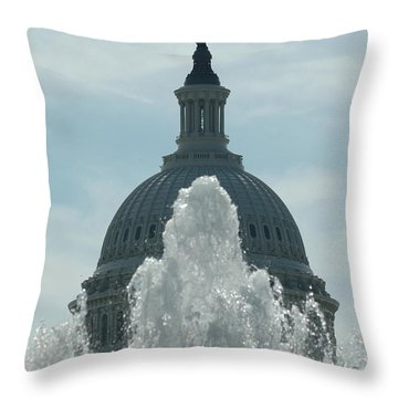 Capital Dome Behind Fountain Throw Pillow