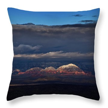 Capitol Butte In Sedona With Snow Throw Pillow
