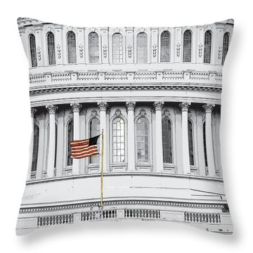 Throw Pillow featuring the photograph Capitol Flag by John Schneider