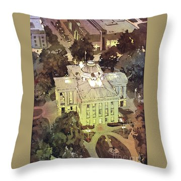 Throw Pillow featuring the painting Capitol Of Stupid- Raleigh, Nc by Ryan Fox