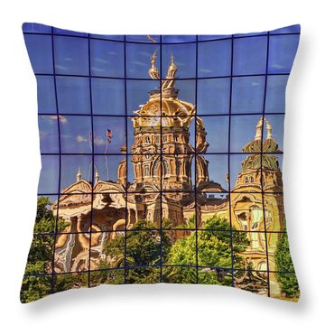 Throw Pillow featuring the photograph Capitol Reflection - Iowa by Nikolyn McDonald