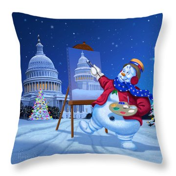 Capitol Snoman Throw Pillow by Michael Humphries