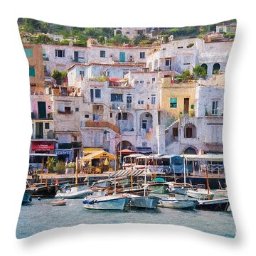 Capri Boat Harbor Throw Pillow
