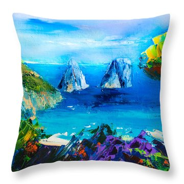 Capri Colors Throw Pillow by Elise Palmigiani