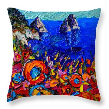 Capri Faraglioni Italy Colors Modern Impressionist Palette Knife Oil Painting By Ana Maria Edulescu  Throw Pillow