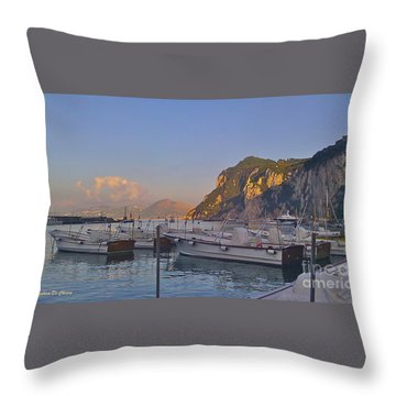 Capri- Harbor Boats Throw Pillow