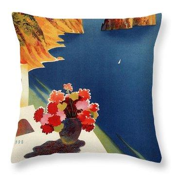 Capri Island, Bay Of Naples, Italy - Retro Travel Poster - Vintage Poster Throw Pillow