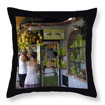 Capri Street Scene Con Limoni Throw Pillow