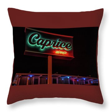 Throw Pillow featuring the photograph Caprice Hotel Wildwood by Kristia Adams
