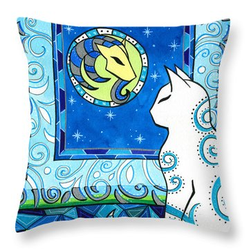 Capricorn Cat Zodiac Throw Pillow