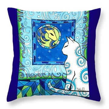 Capricorn Cat Zodiac Throw Pillow