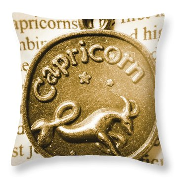 Capricorn Zodiac Lucky Charm Throw Pillow