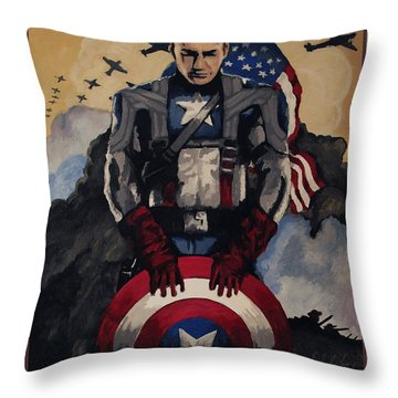 Captain America Recruiting Poster Throw Pillow