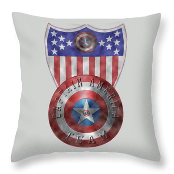 Captain America Shields On Gold  Throw Pillow by Georgeta Blanaru