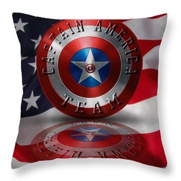 Captain America Team Typography On Captain America Shield  Throw Pillow by Georgeta Blanaru