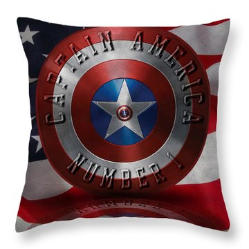 Captain America Typography On Captain America Shield  Throw Pillow by Georgeta Blanaru