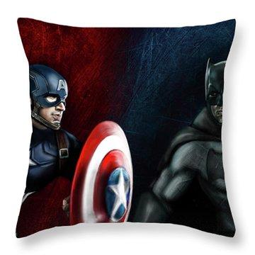 Captain America Vs Batman Throw Pillow by Vinny John Usuriello
