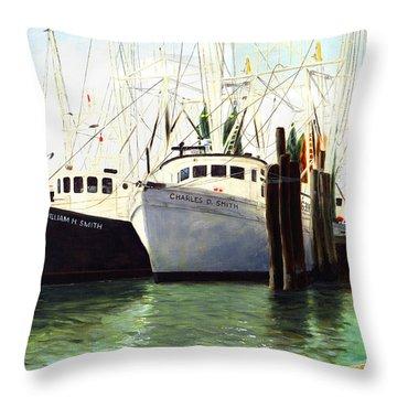 Captains Smith Morehead City North Carolina Original Fine Art Oil Painting Throw Pillow