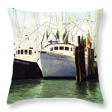 Captains Smith Morehead City North Carolina Original Fine Art Oil Painting Throw Pillow