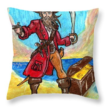 Captain's Treasure Throw Pillow by William Depaula
