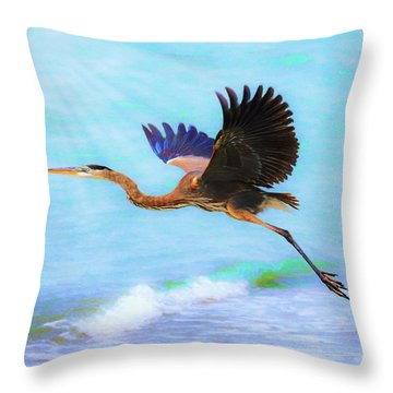 Captiva Crane In Flight Throw Pillow
