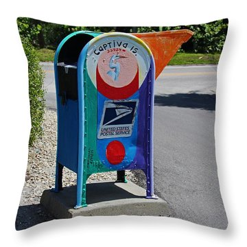 Throw Pillow featuring the photograph Captiva Island Mailbox- Horizontal by Michiale Schneider