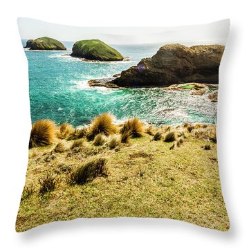 Captivating Coastal Cliff Throw Pillow