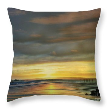 Captivating Sunset Over The Harbor Throw Pillow by Judy Palkimas