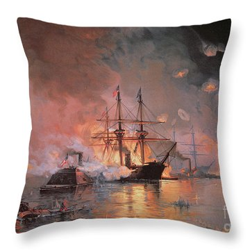 Capture Of New Orleans By Union Flag Officer David G Farragut Throw Pillow